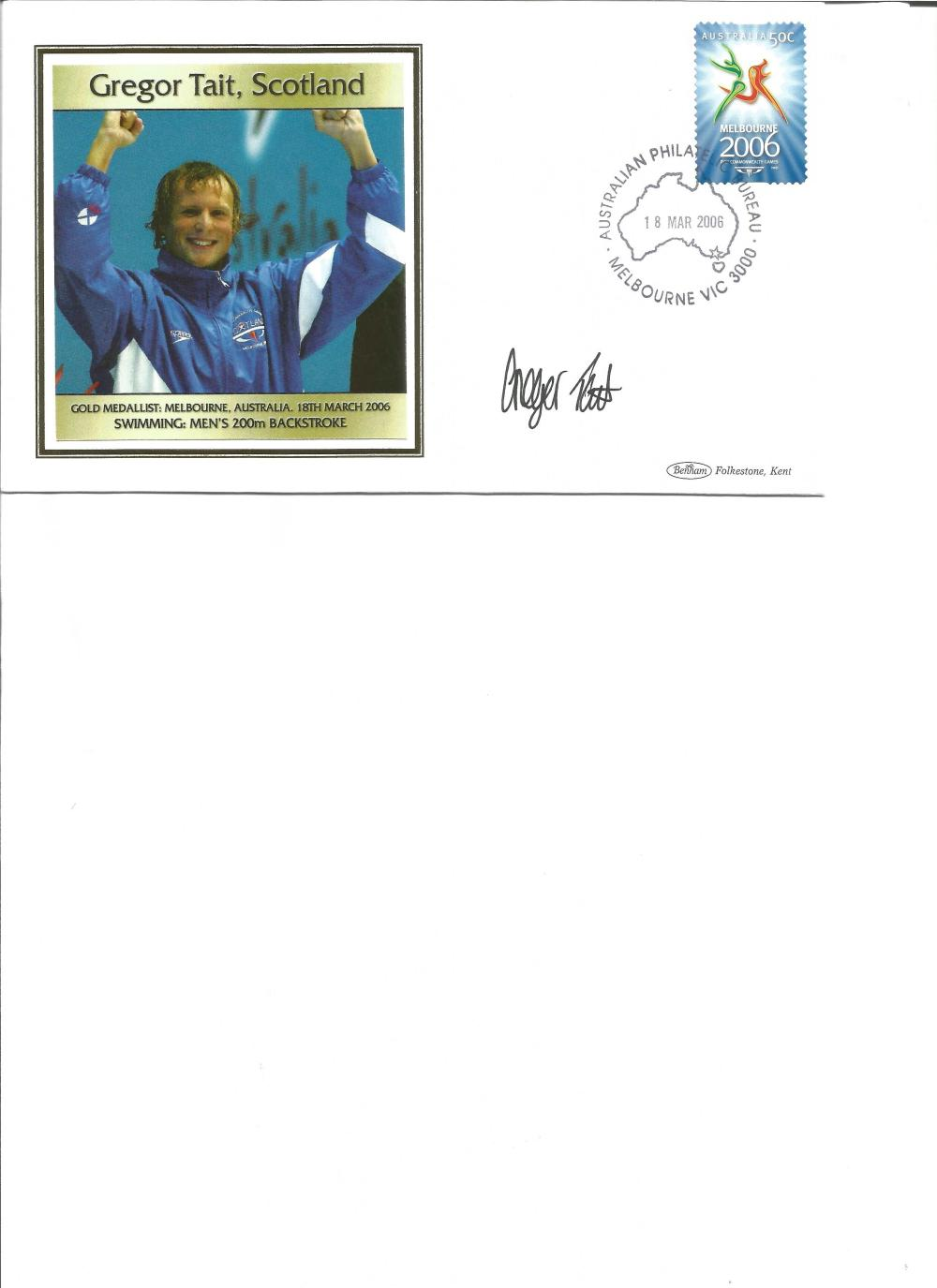 Gregor Tait signed 2006 Australian Commonwealth Games FDC. Swimming gold medallist. Good