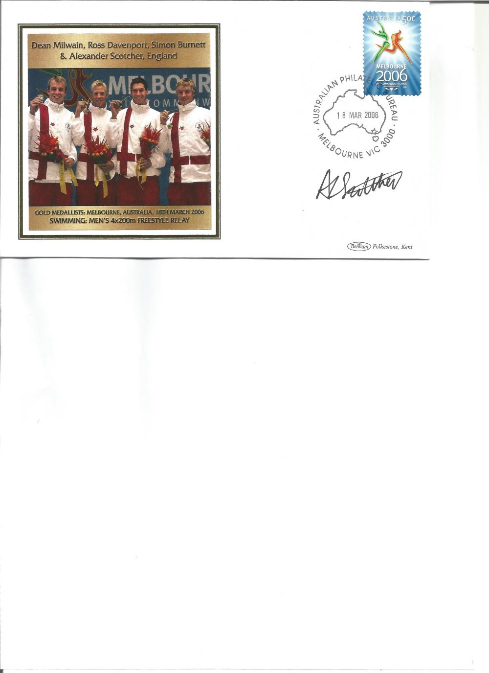 Alexander Scotcher signed 2006 Australian Commonwealth Games FDC. Swimming gold medallist. Good