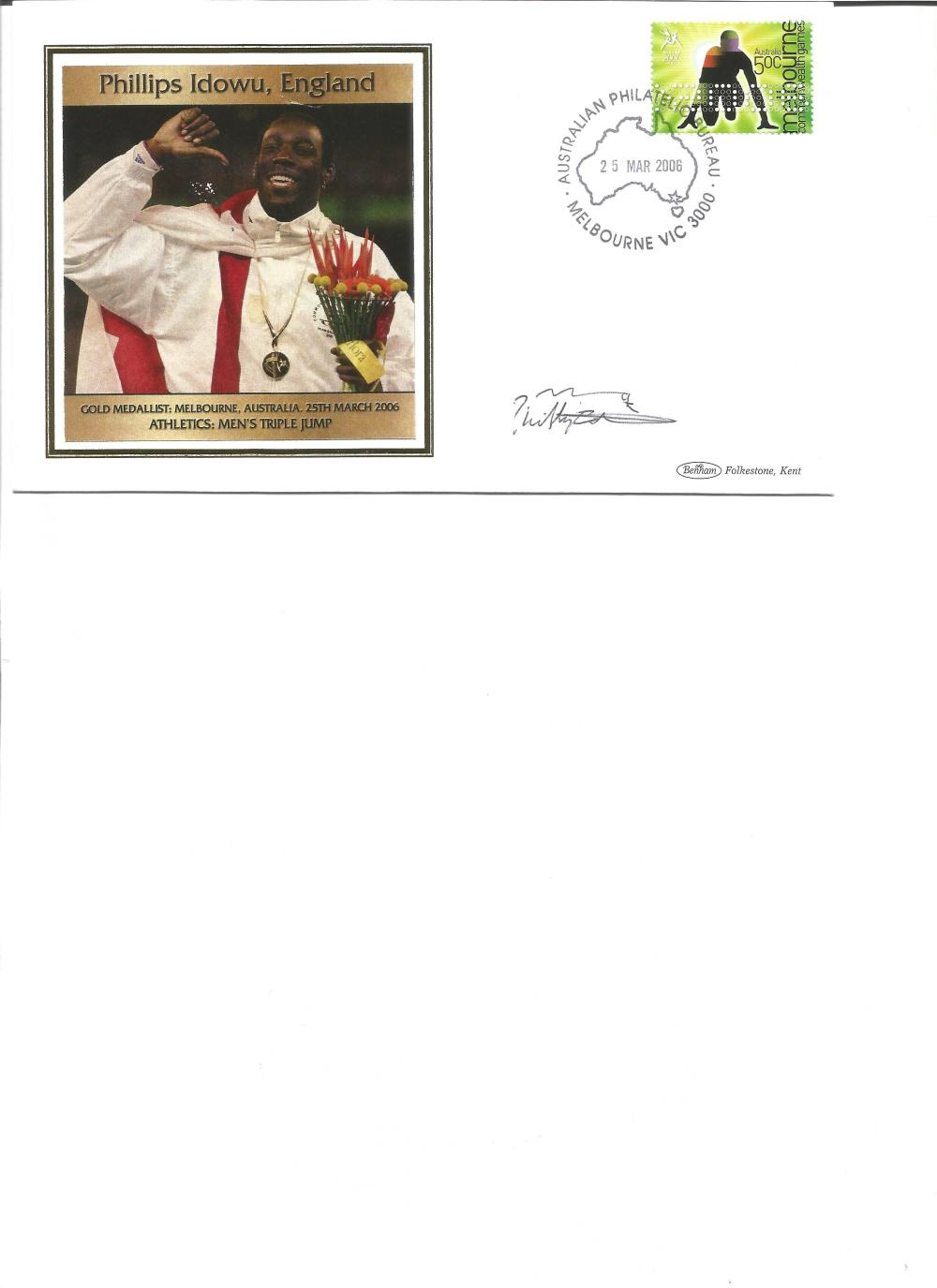 Philips Idowu signed 2006 Australian Commonwealth Games FDC. Athletics gold medallist. Good