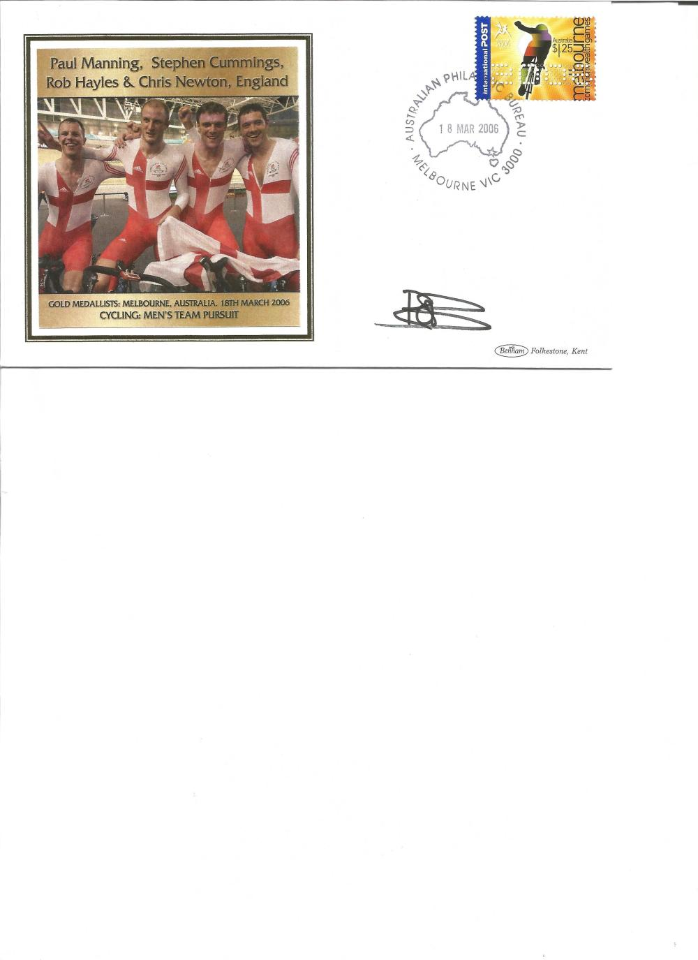 Rob Hayles signed 2006 Australian Commonwealth Games FDC. Cycling gold medallist. Good Condition.