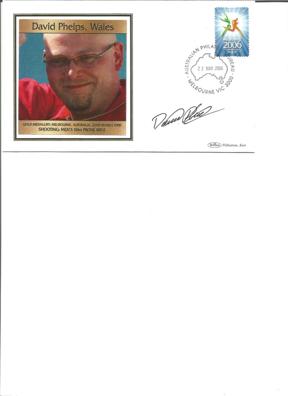 David Phelps signed 2006 Australian Commonwealth Games FDC. Shooting gold medallist. Good Condition.