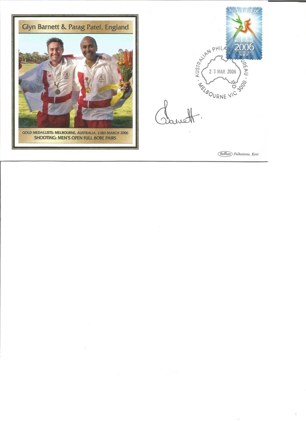 Glyn Barnett signed 2006 Australian Commonwealth Games FDC. Shooting Gold medallist. Good Condition.