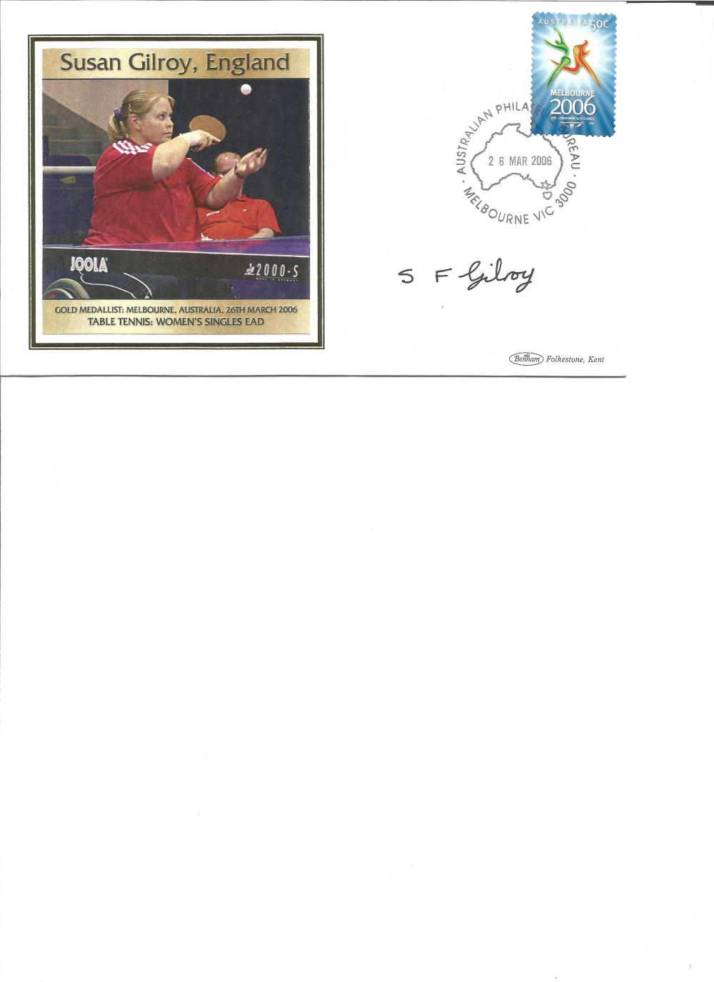 Susan Gilroy signed 2006 Australian Commonwealth Games FDC. Table tennis gold medallist. Good