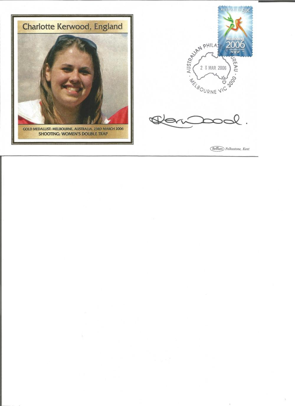 Charlotte Kerwood signed 2006 Australian Commonwealth Games FDC. Shooting gold medallist. Good