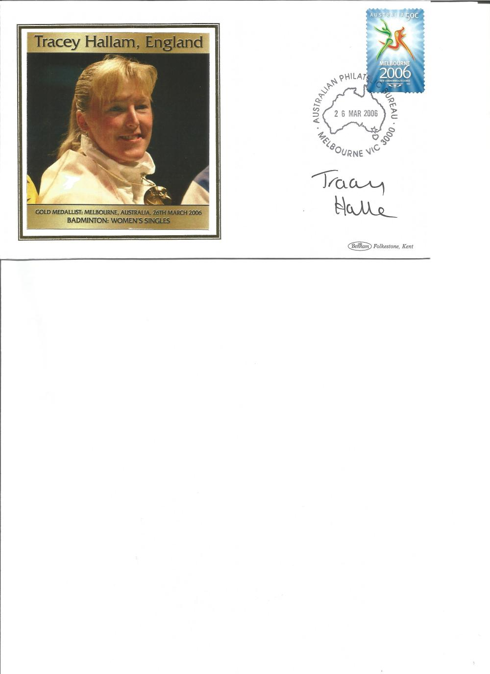 Tracey Hallam signed 2006 Australian Commonwealth Games FDC. Badminton gold medallist. Good