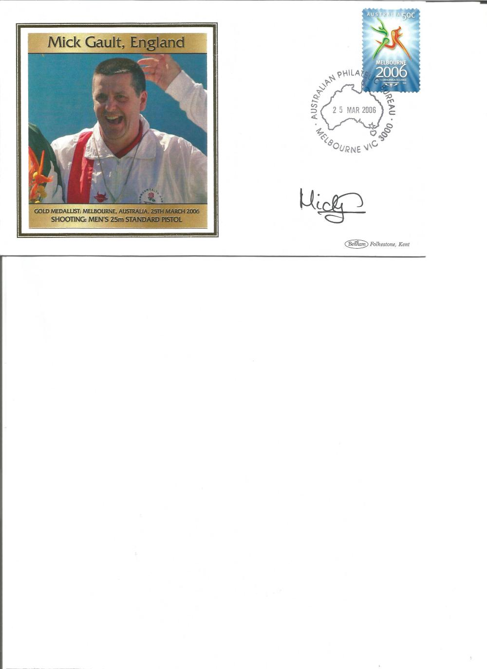 Mick Gault signed 2006 Australian Commonwealth Games FDC. Shooting gold medallist. Good Condition.