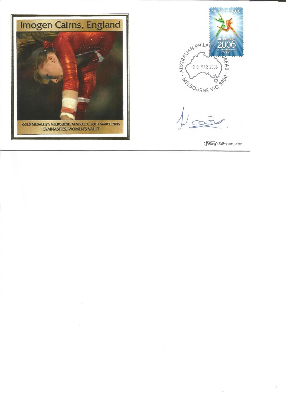 Imogen Cairns signed 2006 Australian Commonwealth Games FDC. Gold medallist gymnast. Good Condition.