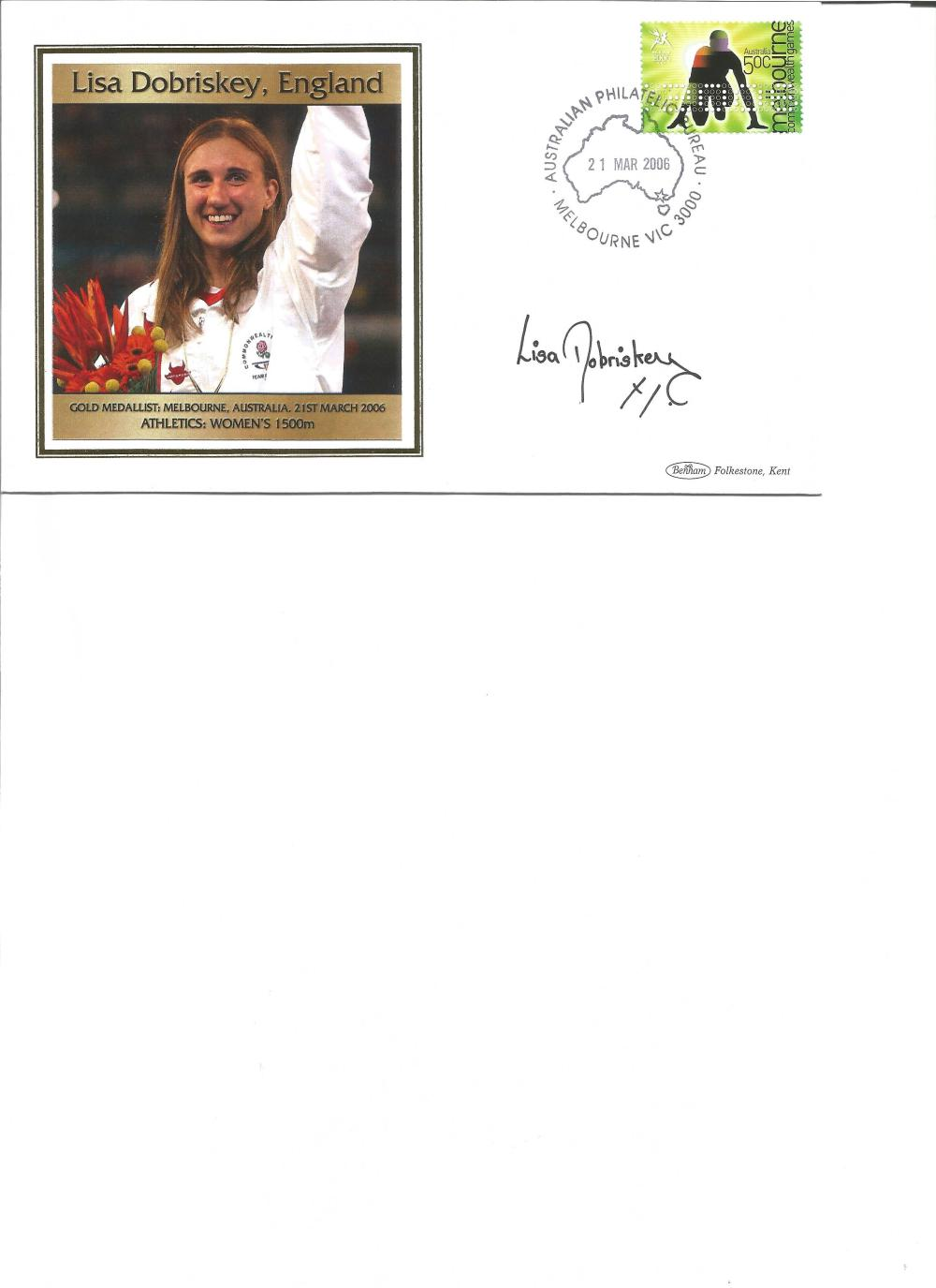 Lisa Driskey signed 2006 Australian Commonwealth Games FDC. Athletics gold medallist. Good