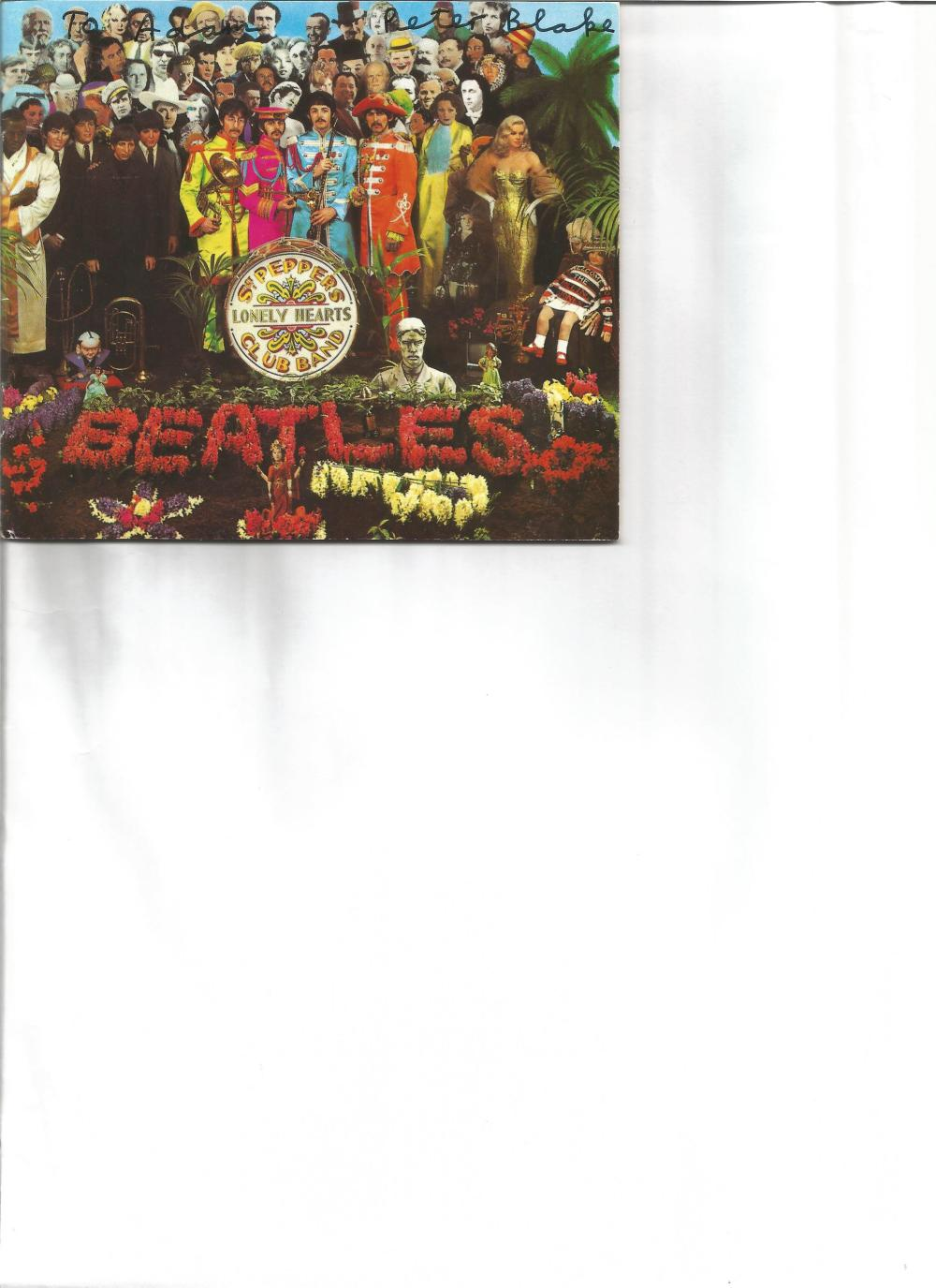 Peter Blake signed CD inlay for Beatles Cd Sgt Pepper. Good Condition. All signed pieces come with a