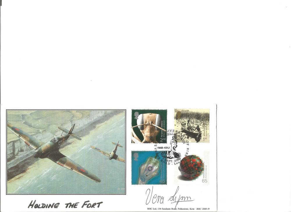 Vera Lynn signed Holding the Fort cover. Good Condition. All signed pieces come with a Certificate
