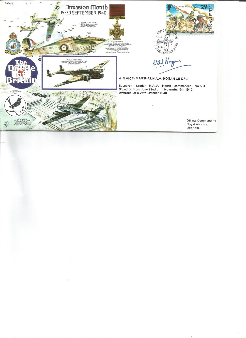 Air Vice-Marshal A V Hogan DFC signed Invasion month cover. Good Condition. All signed pieces come
