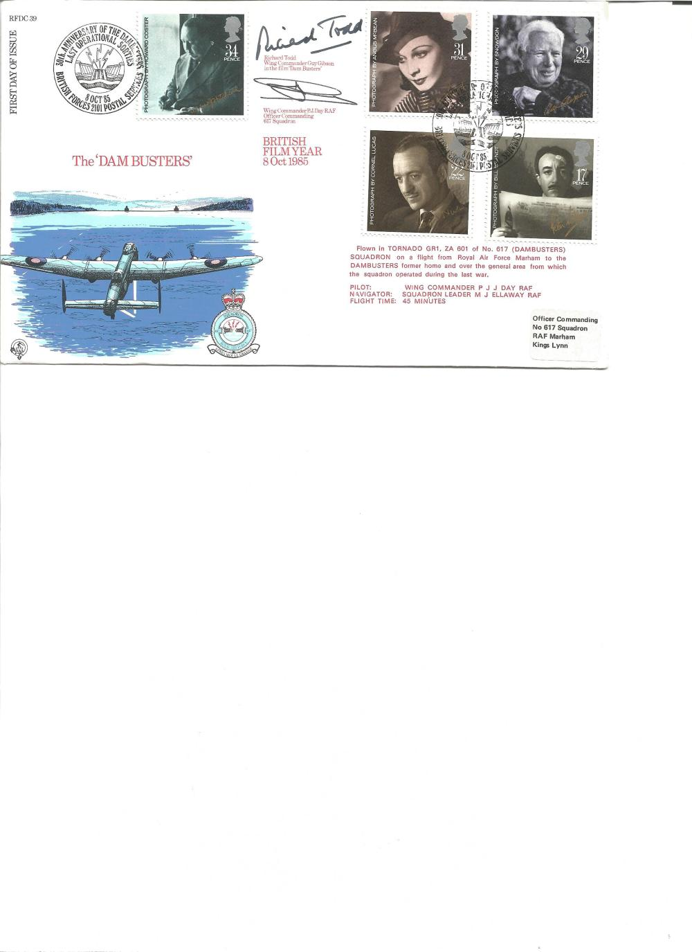 Richard Todd and Wg Comm P Day signed The Dambusters cover. Good Condition. All signed pieces come