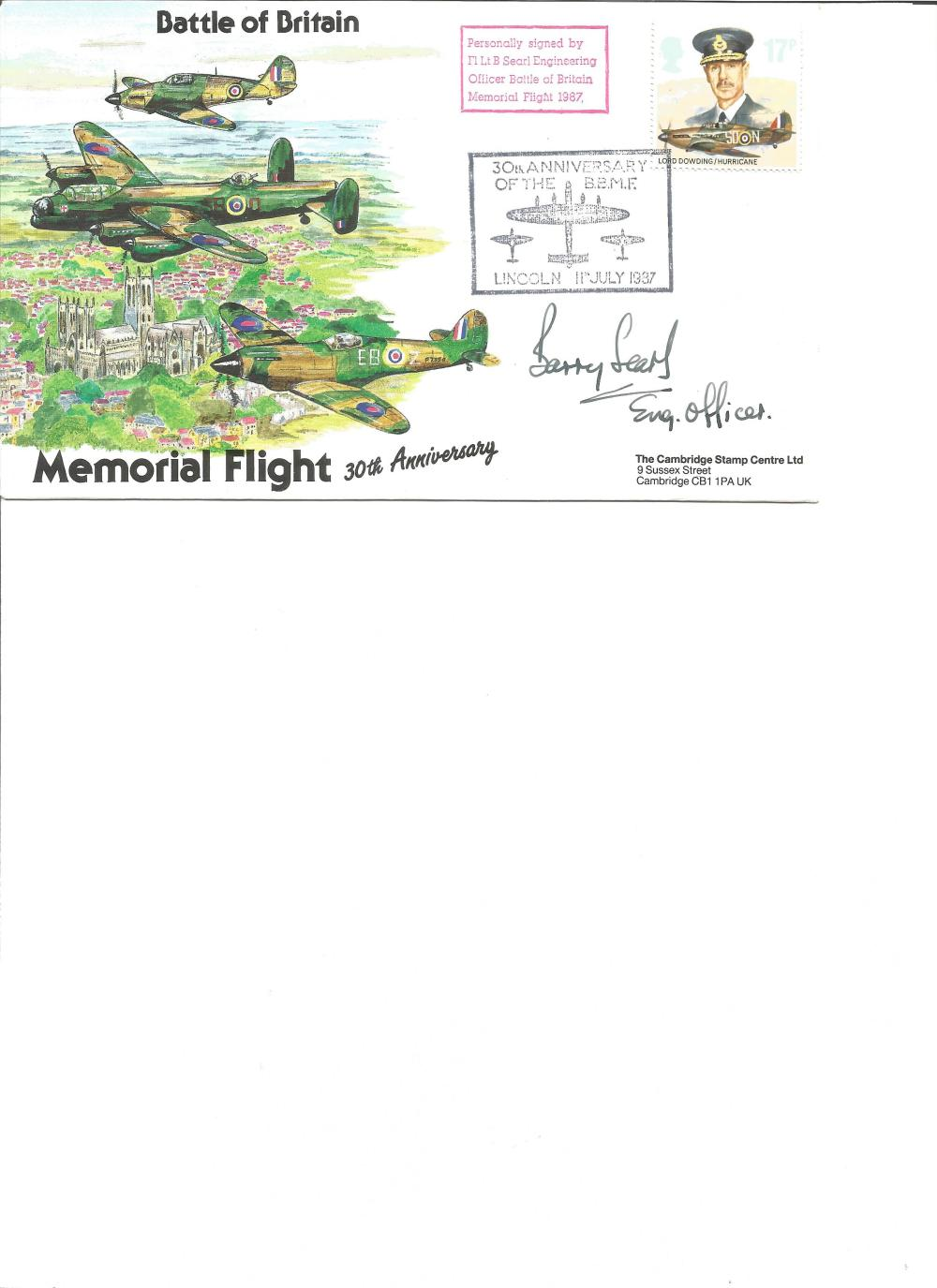 Flt Lt B Searle signed Battle of Britain Memorial Flight cover. Good Condition. All signed pieces