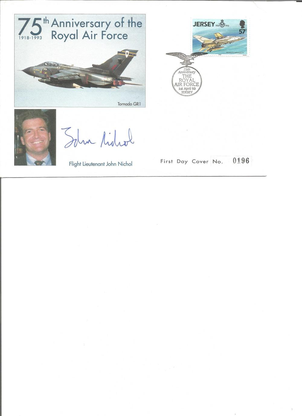 Flt Ltnt John Nichol signed 75th anniv of the RAF cover. Good Condition. All signed pieces come with