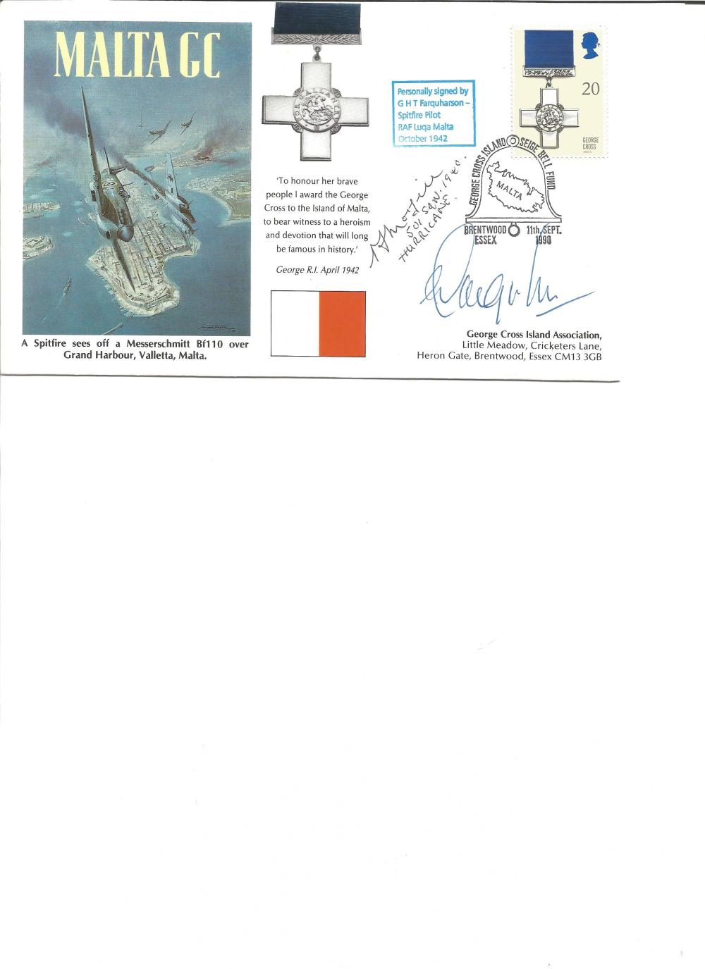 G H T Farquharson signed Malta GC Cover. Good Condition. All signed pieces come with a Certificate