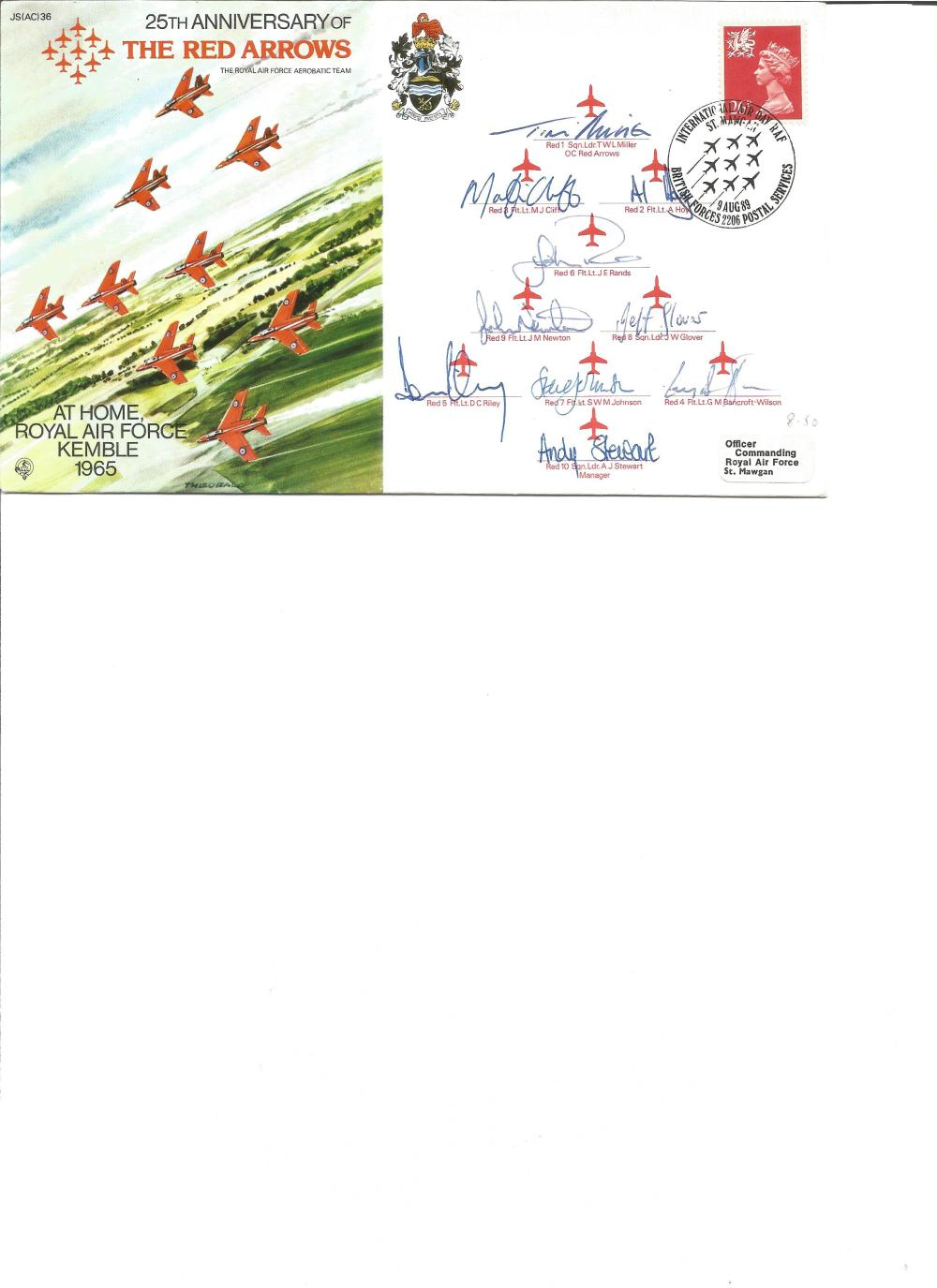 Multi signed Red Arrows cover 1989. Signed by 10. Good Condition. All signed pieces come with a