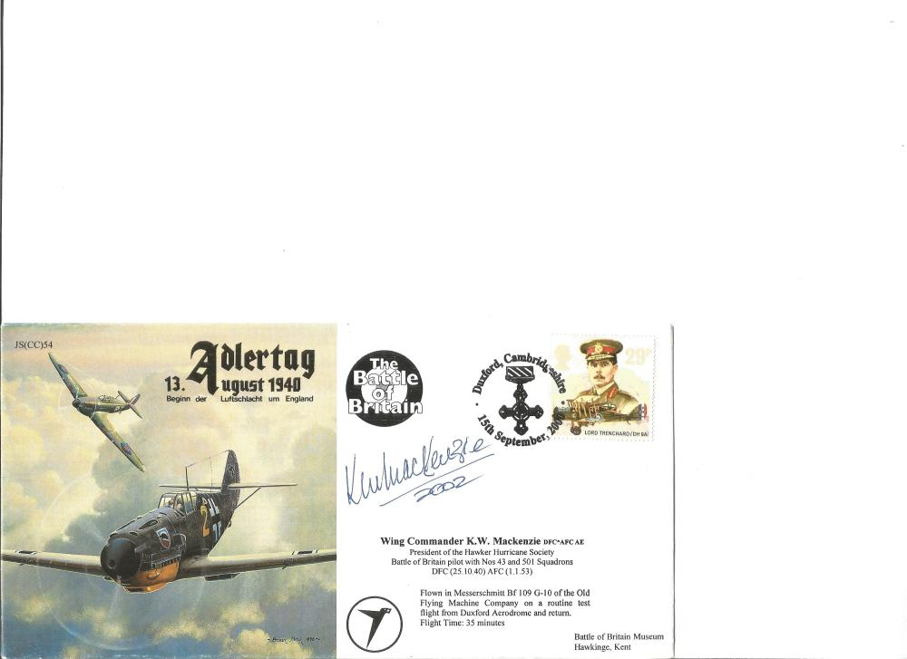 Wg Comm K W Mackenzie DFC AFC signed Adlertag cover. Good Condition. All signed pieces come with a