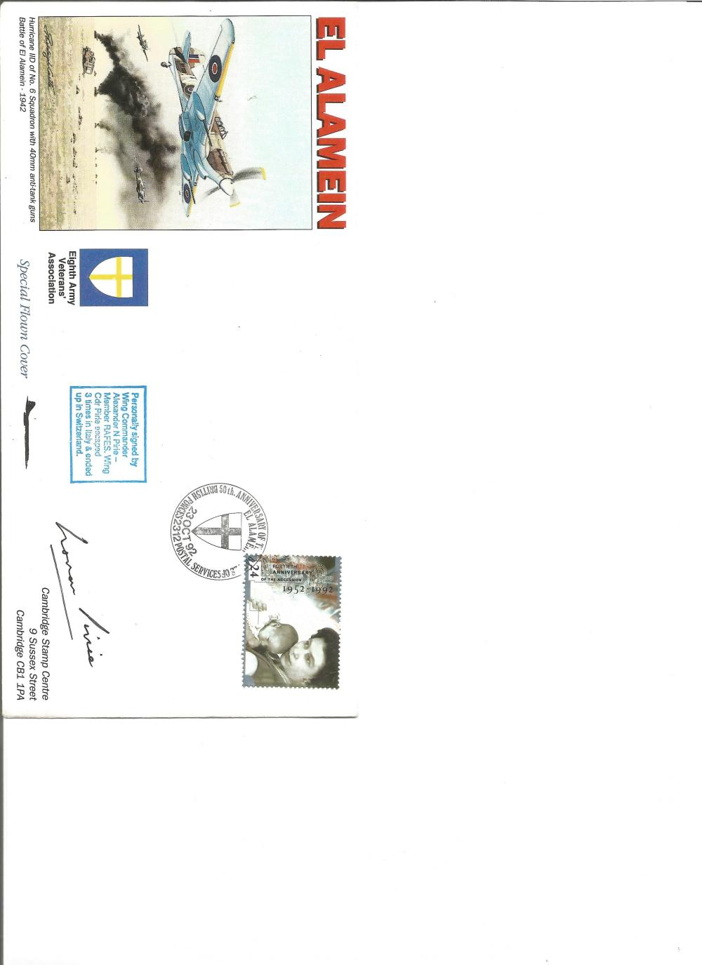 Wg Comm Alexander Pirie signed El Alamein cover. Good Condition. All signed pieces come with a