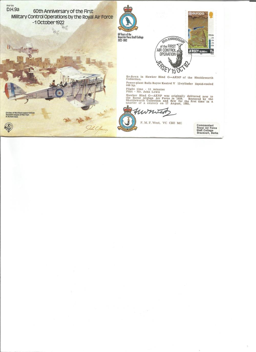 F West VC CBE MC signed cover. Good Condition. All signed pieces come with a Certificate of