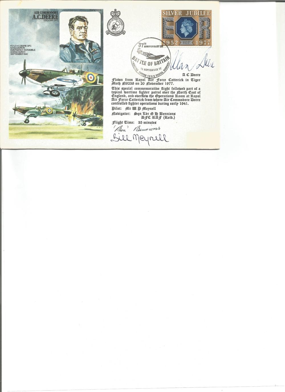 Alan Deere, Sqn Ldr Bennions and Bill Meynell signed on Deere's own Historic Aviators cover. Good