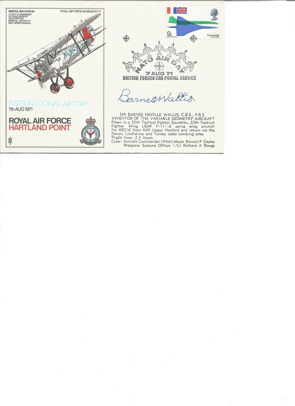 Barnes Wallis signed RAF Museum cover. Good Condition. All signed pieces come with a Certificate