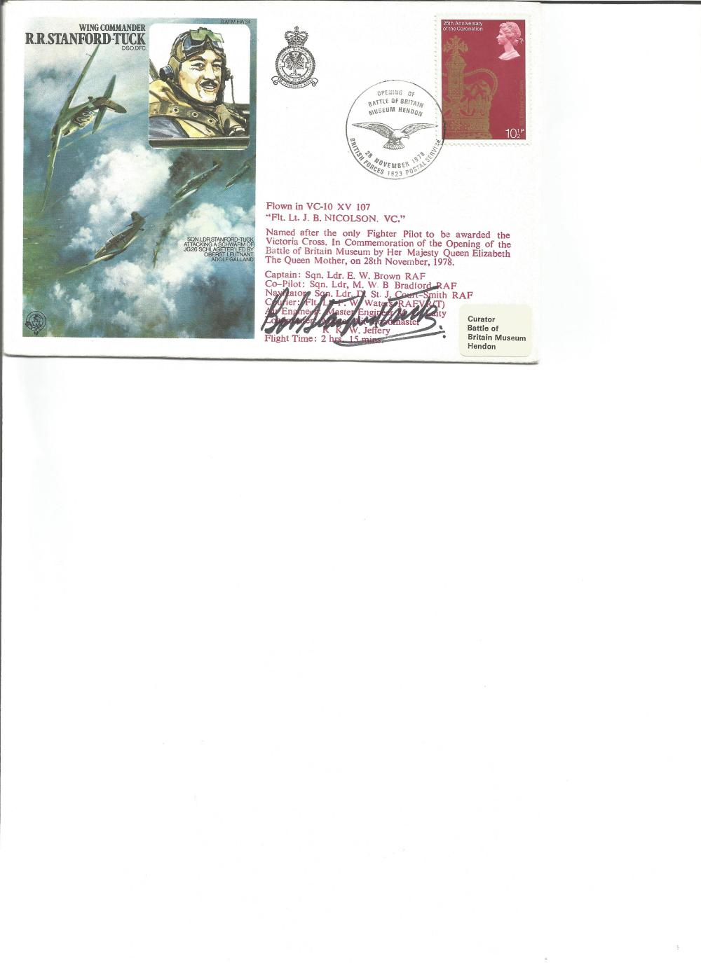Wg Comm Robert Stanford Tuck signed on his own Historic Aviators cover. Good Condition. All signed