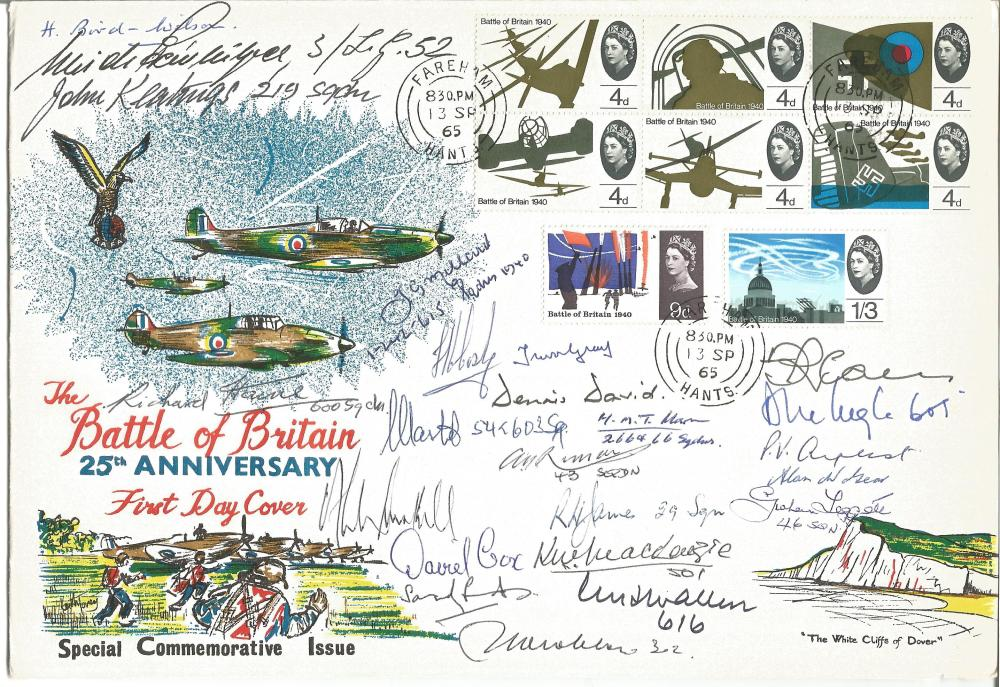 Twenty Three Battle of Britain pilots signed large 1965 Battle of Britain FDC with White Cliffs