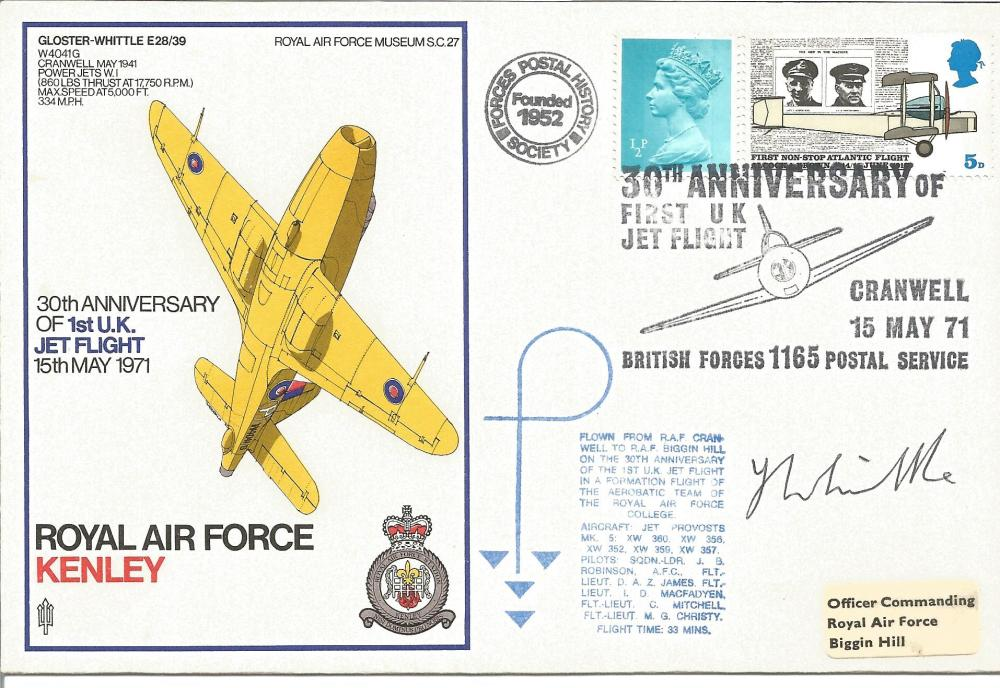 Sir Frank Whittle signed 1971 RAF Kenley Gloster Whittle cover. Flown by Jet Provost, 5p Alcock