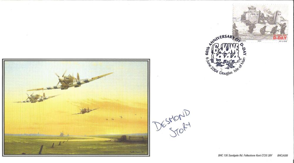 D Day Desmond Story signed Spitfire RAF FDC. Story flew with 54F Squadron between 1941-2 and then