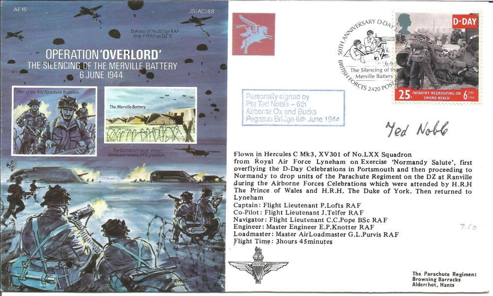 D Day Pte Ted Noble signed Operation Overlord, The silencing of the Merville Battery cover AF15,