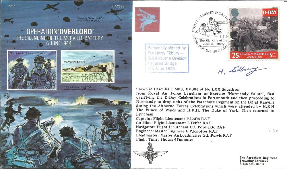 D Day Pte Harry Tilbury signed Operation Overlord, The silencing of the Merville Battery cover AF15,