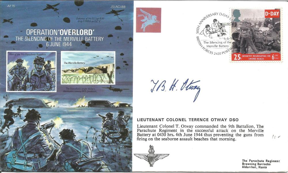 D Day Lieutenant Colonel Terence Otway DSO signed Operation Overlord, The silencing of the
