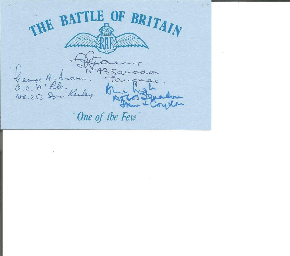 Battle of Britain pilots G Brown 213 sqn, F Carey 1. sqn, A Ingle 605 sqn signed Blue card with