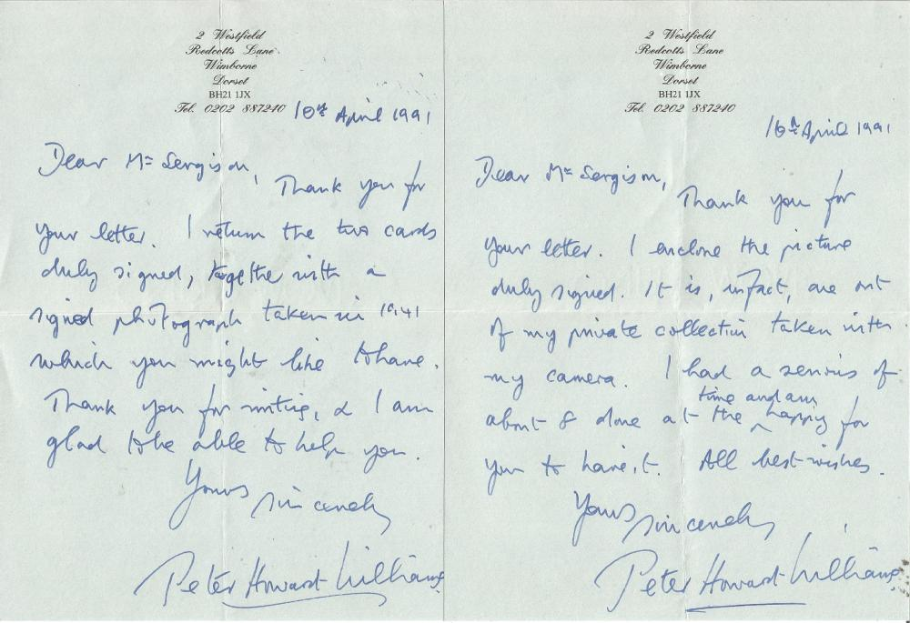 Battle of Britain Peter Howard Williams handwritten letter 1991 to BOB historian Ted Sergison.
