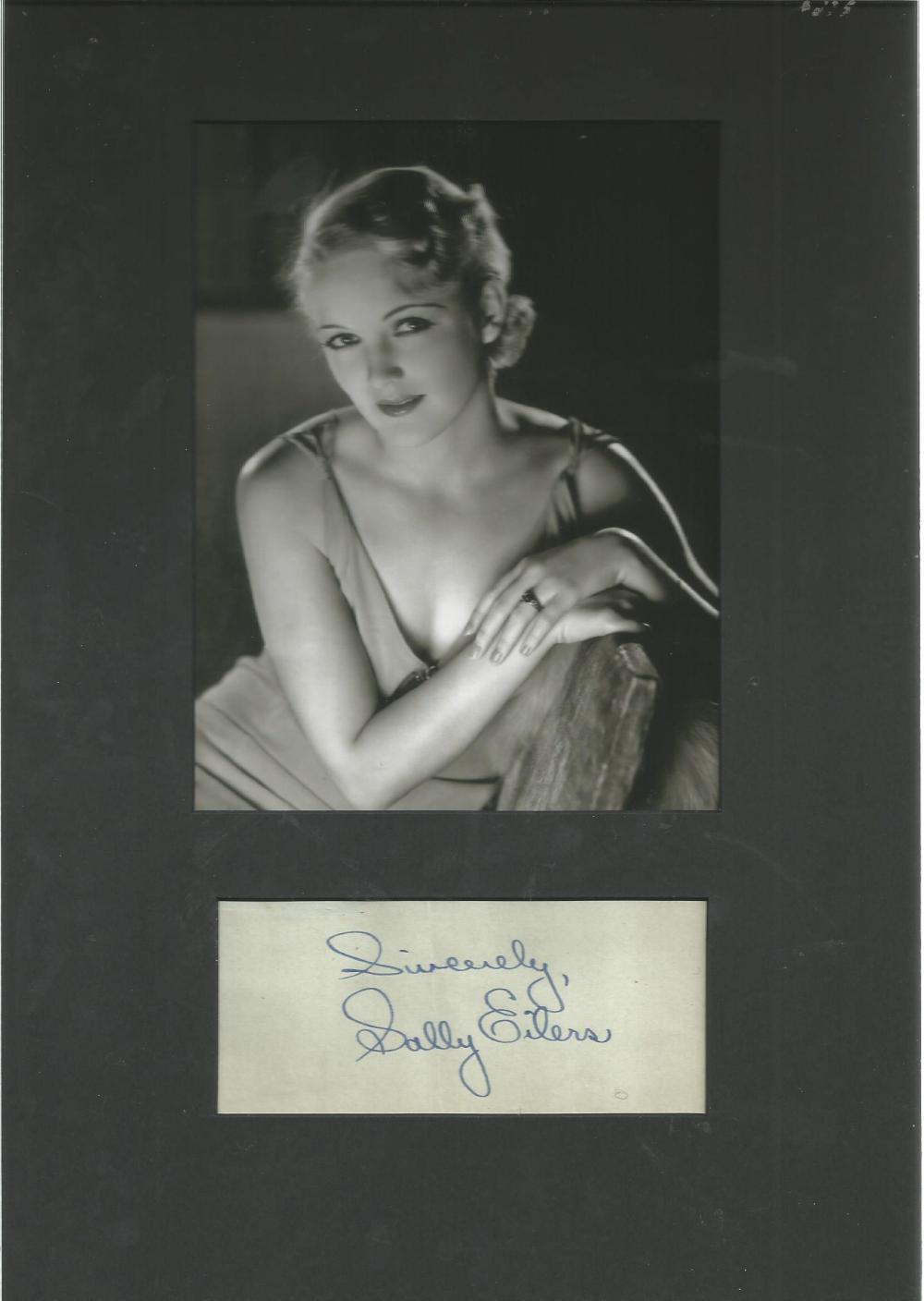 Sally Eilers signed piece with b/w photo mounted to 10 x 8 inches overall. She made her film debut