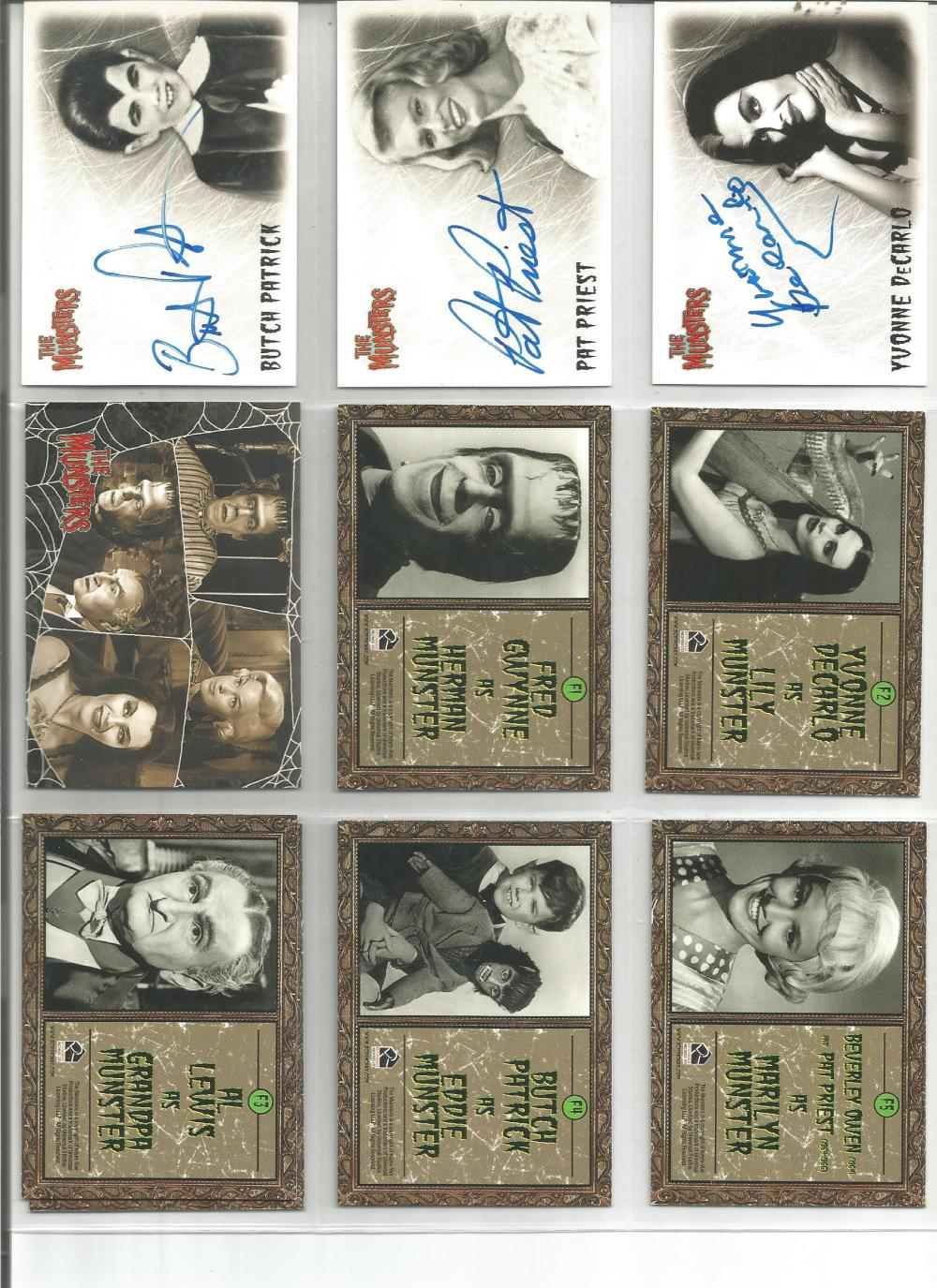 Munsters signed trading card collection. Nine cards three are signed by Butch Patrick, Pat Priest,