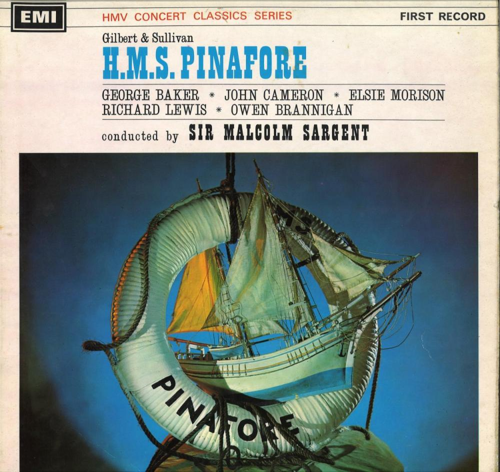 Sir Malcolm Sargent signed 33 rpm record HMS Pinafore. Good Condition. All signed pieces come with a