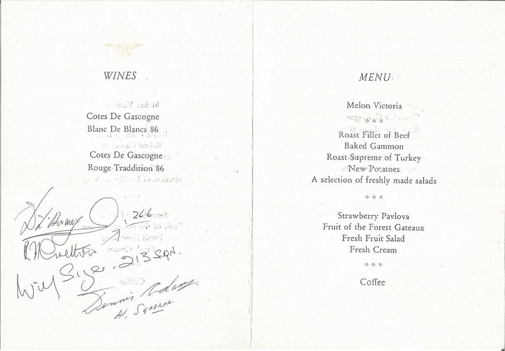 Battle of Britain multisigned 50th ann Fighter Association Dinner Menu card, signed by D Armitage