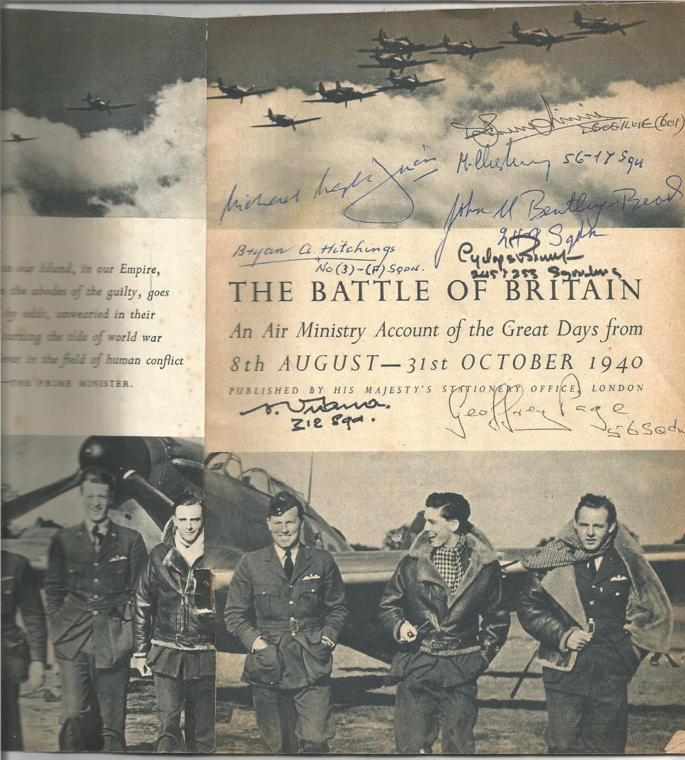 1940 HSO Battle of Britain booklet signed inside by 10 Battle of Britain pilots inc Chemelcki 54sqn,