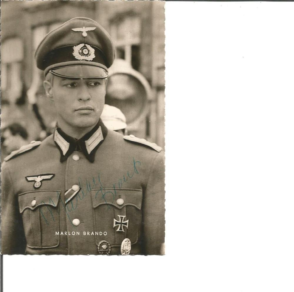 Marlon Brando signed 6 x 4 b/w photo in German Uniform. Good Condition. All signed pieces come