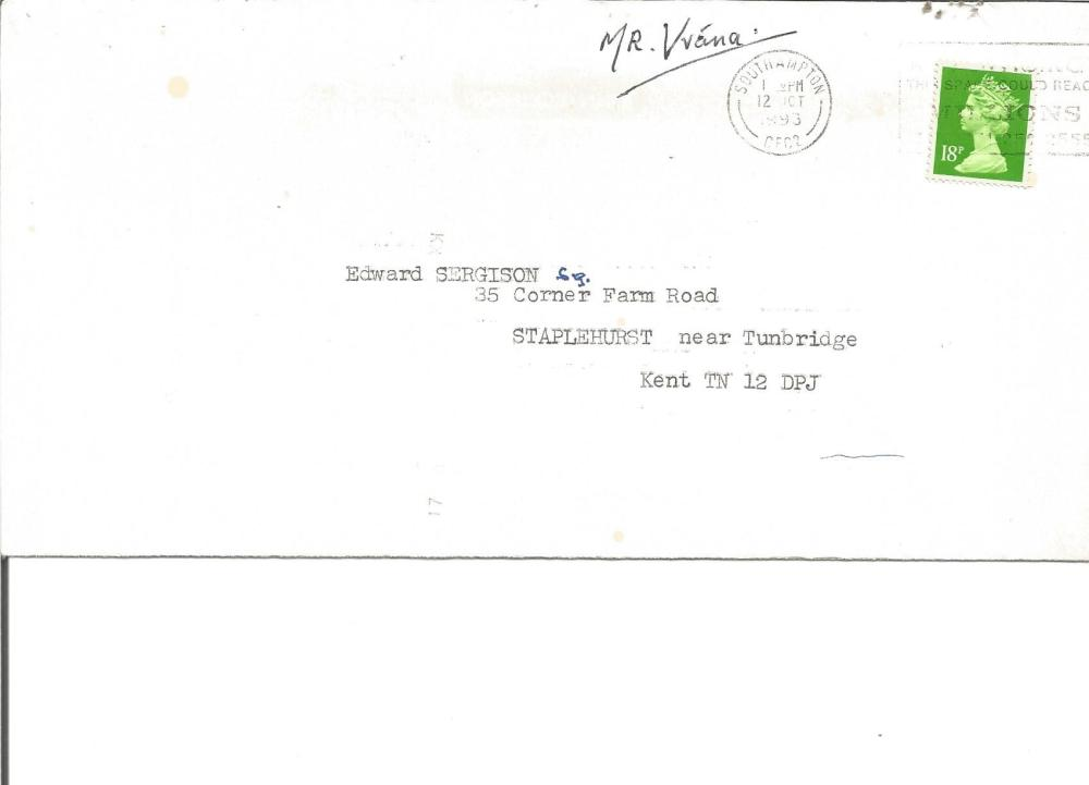 Adolf Vrana WW2 Battle of Britain Czech ace signed 1993 typed letter to BOB historian Ted