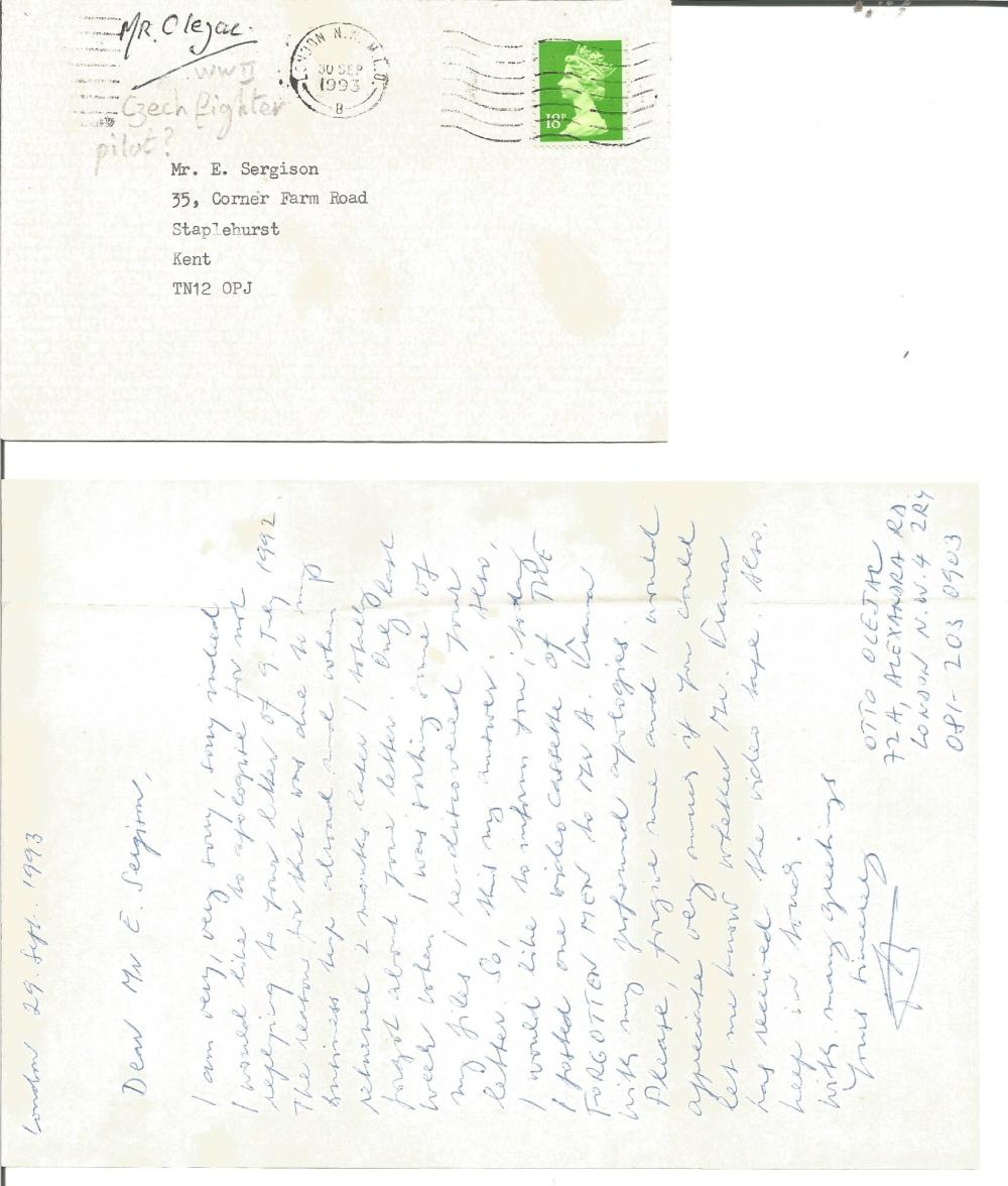 Otto Olejac Czech WW2 fighter ace handwritten letter to BOB historian Ted Sergison. Good