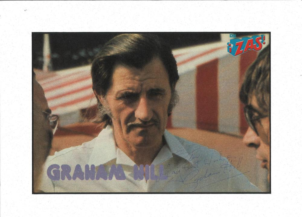 Graham Hill signed colour photo. Mounted to approx size 14x11. Dedicated. Good Condition. All signed