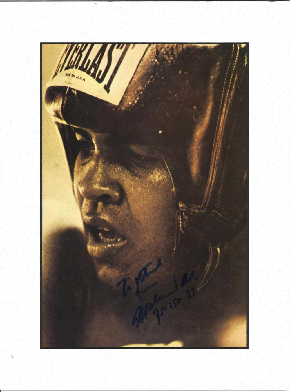 Muhammad Ali signed b/w photo. Mounted to approx size 14x11. Dedicated. Good Condition. All signed