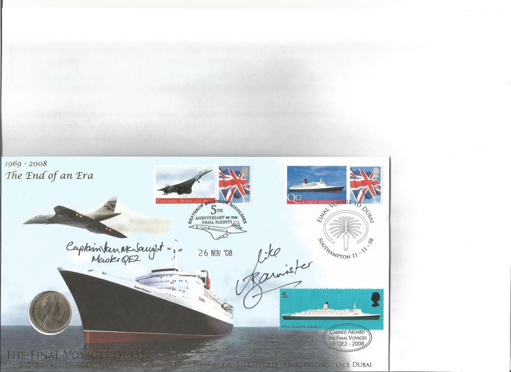 Capt Mike Bannister & Capt McNaught signed 2008 cover comm. End of an Era Concorde and QEII.