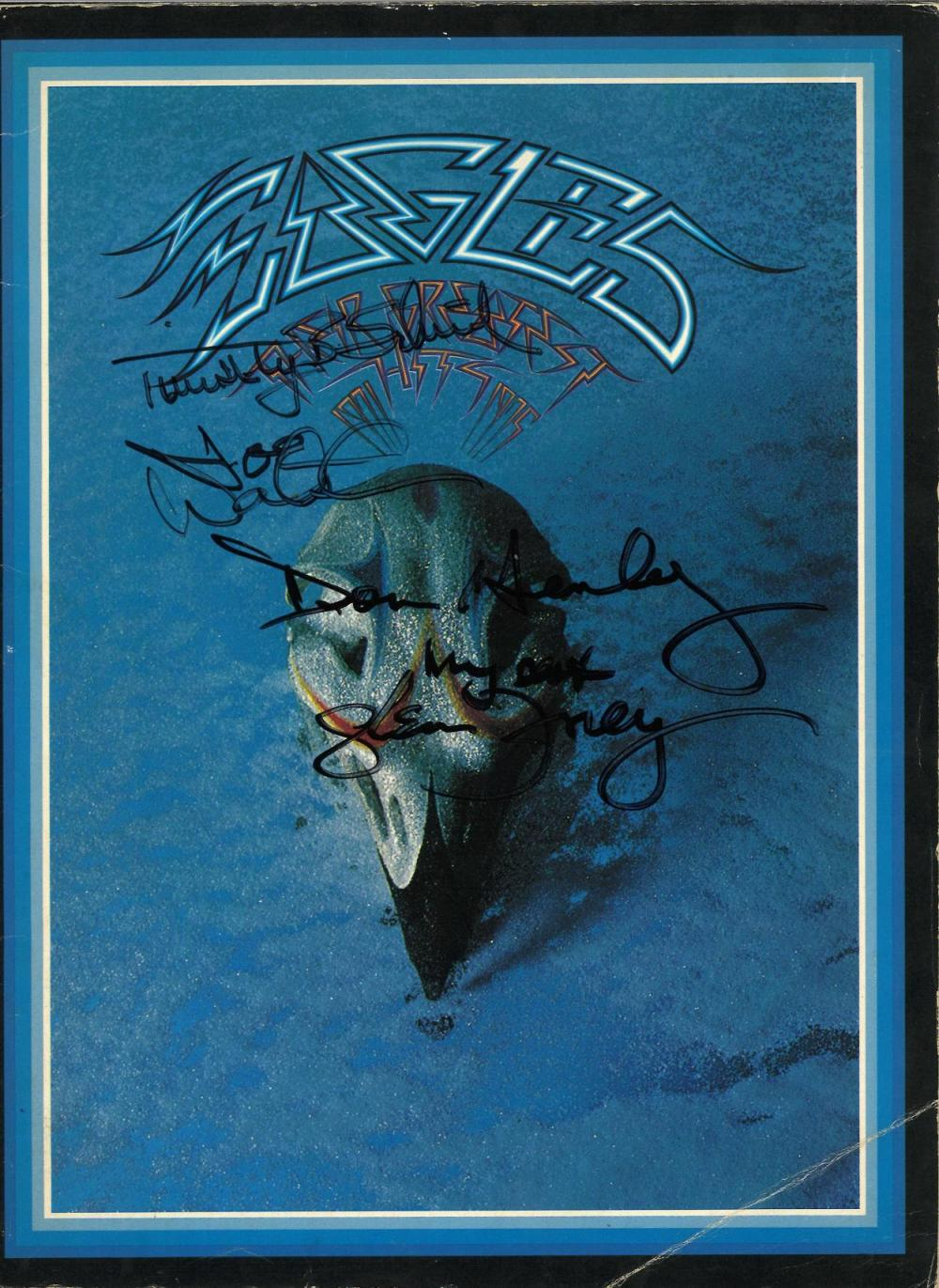 The Eagles signed Take it Easy music score softback book. Good Condition. All signed pieces come