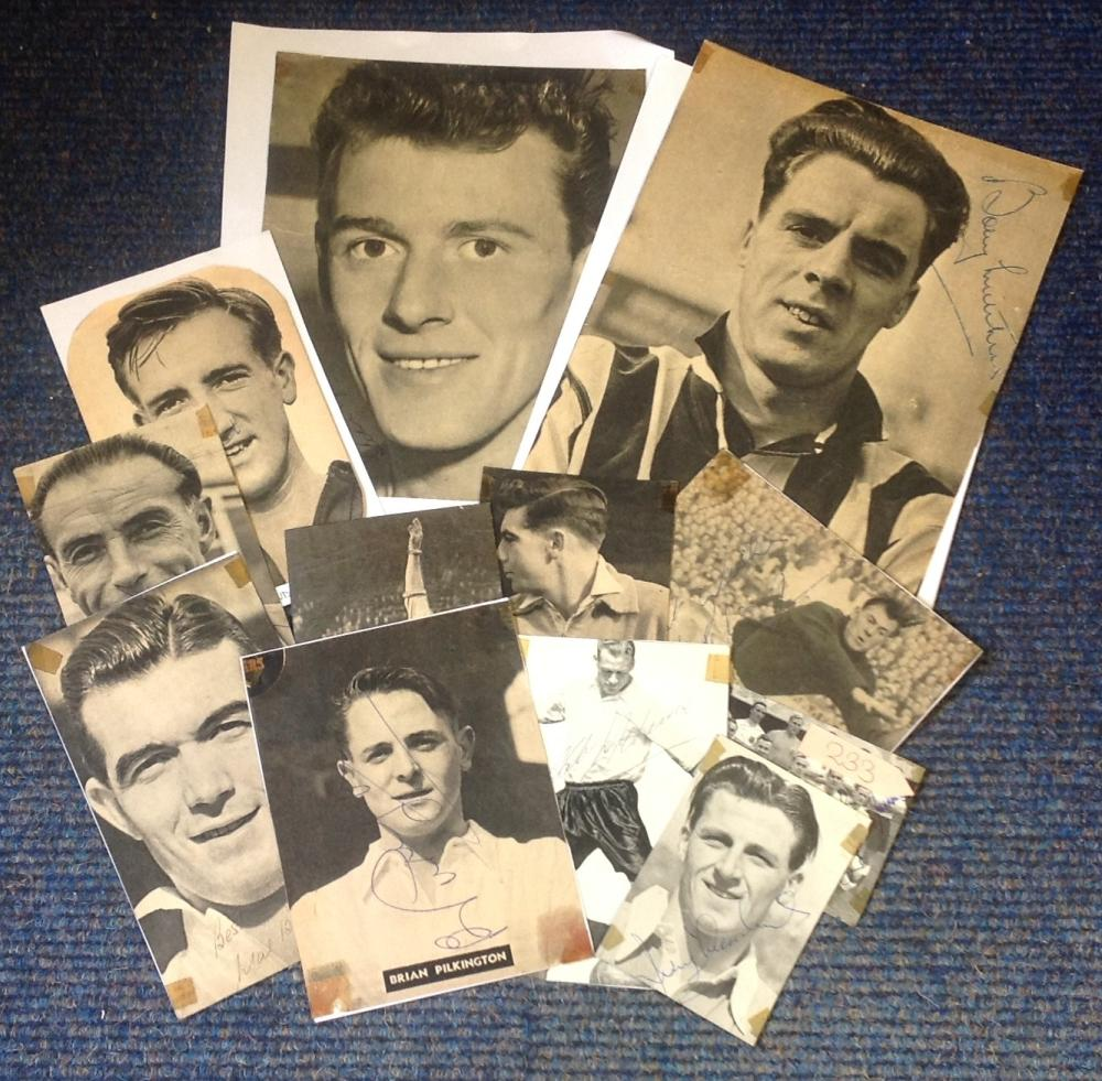 Football newspaper clipping signed collection. 12 items. Some of names included are Nat Lofthouse,