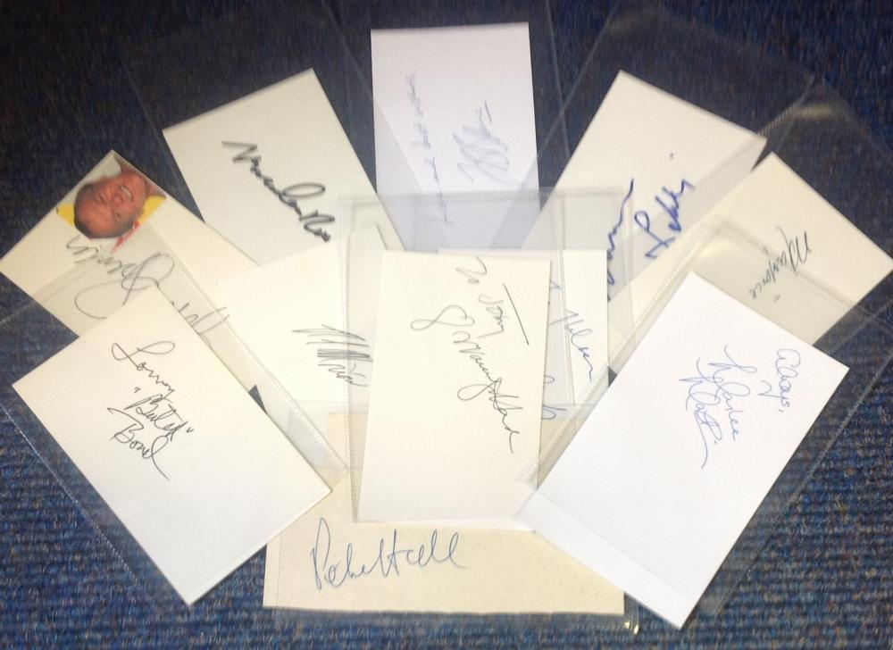 TV/Film signed white card collection. 11 in total. Some of names included are John Spencer, Kyra