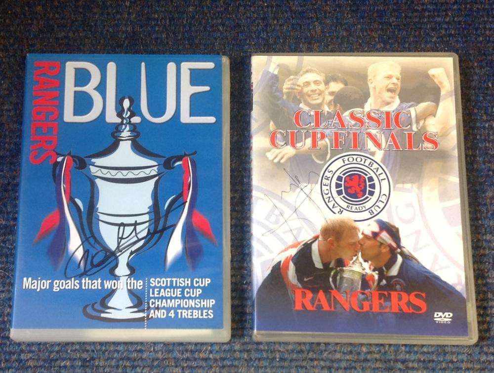 Rangers FC 2 DVD's signed collection. 1 signed by George Albertz the other unidentified. Good