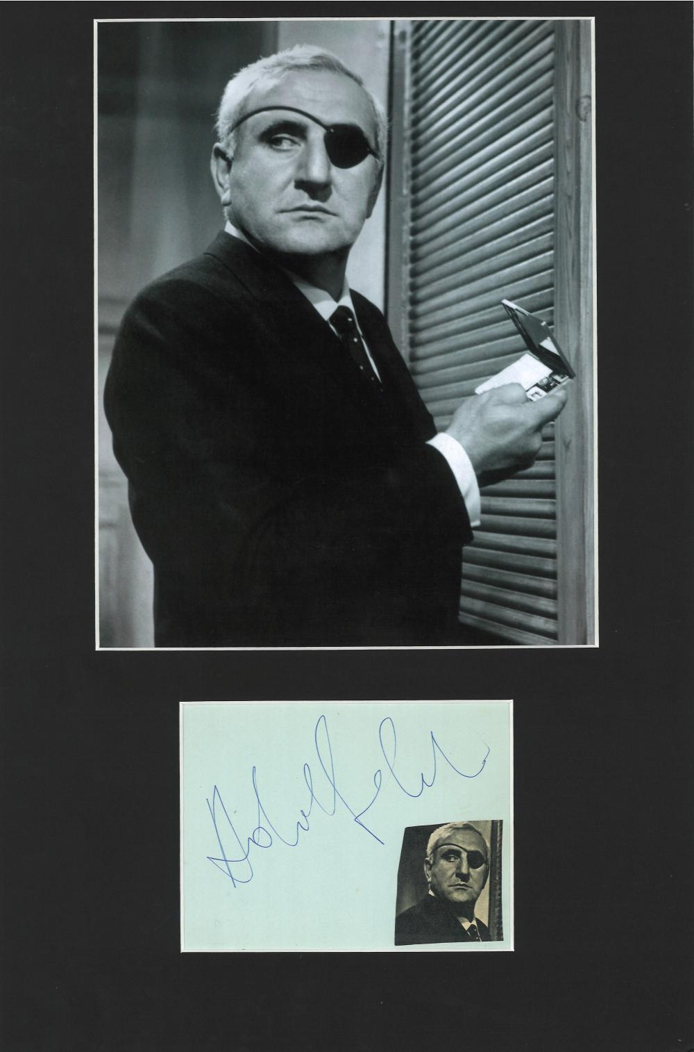 Adolfo Celi signature piece, mounted below b/w photo to approx size 16x12. Italian actor, best known